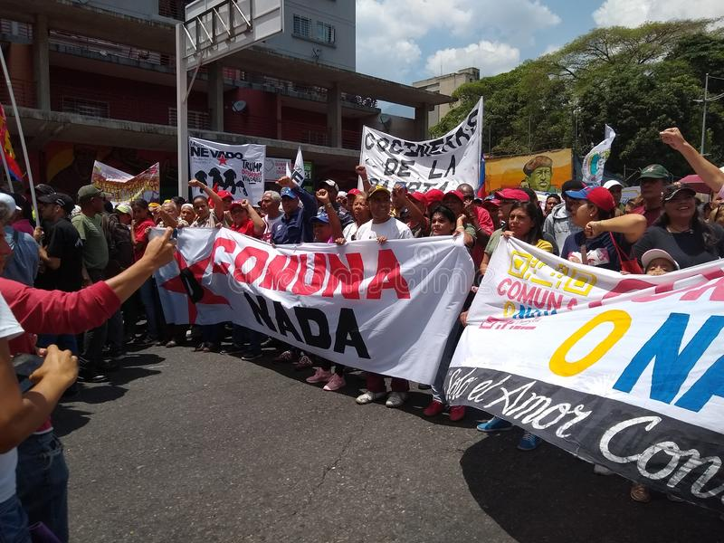 Supporters of Nicolas Maduro march in Caracas to  commemorate the first anniversary of reelection royalty free stock images