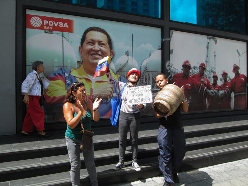 Caracas, Venezuela.Protest of citizens of Caracas for inefficiency in the domestic gas service at the gates of PDVSA GAS.  royalty free stock photo