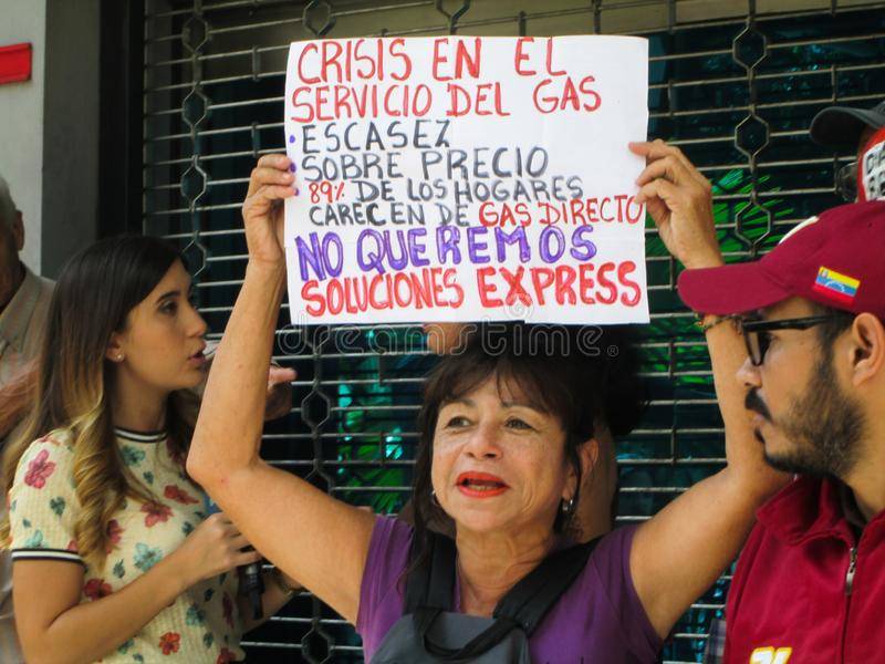 Caracas, Venezuela.Protest of citizens of Caracas for inefficiency in the domestic gas service at the gates of PDVSA GAS.  stock images