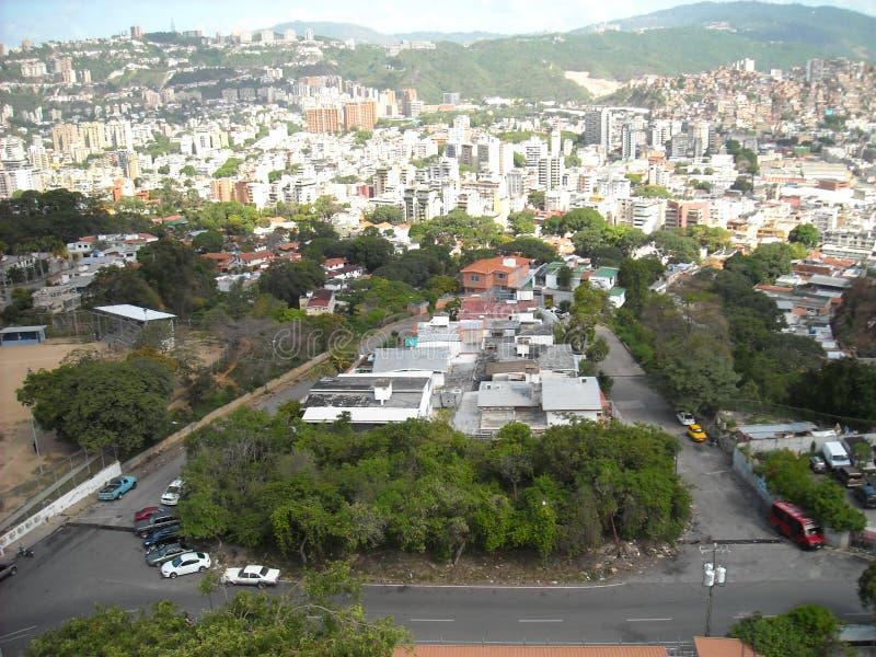 Caracas, Venezuela. View of some social interest buildings of the Gran Misión Vivienda, el Metrocable, slums  and other buildings.  royalty free stock image