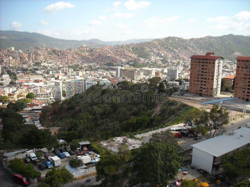 Caracas, Venezuela. View of some social interest buildings of the Gran Misión Vivienda, el Metrocable, slums  and other buildings.  stock photography