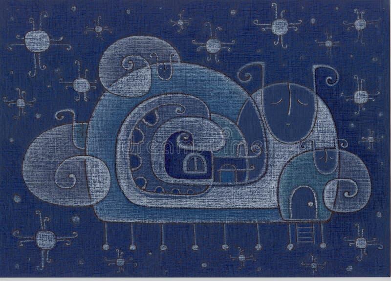 Caracol azul stock de ilustración