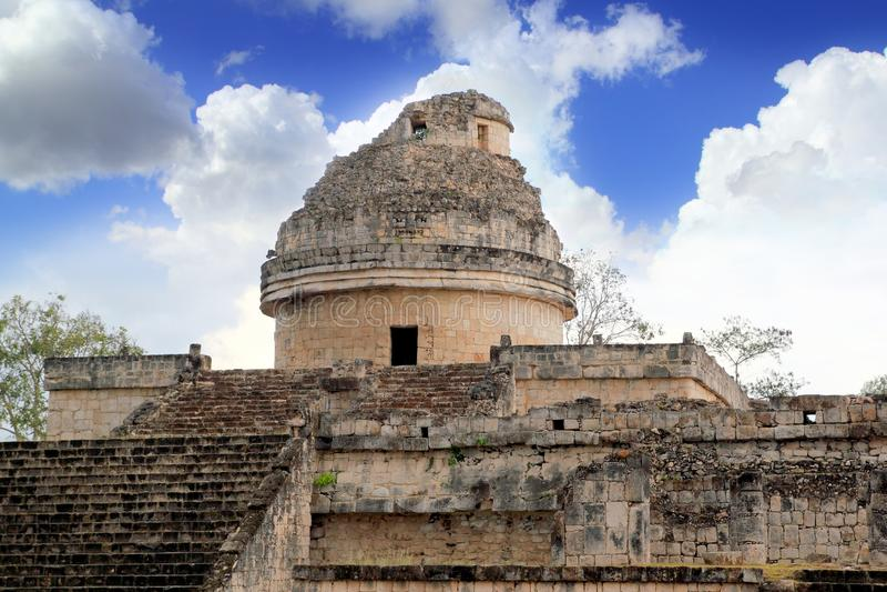 caracol chichen обсерватория Мексики itza майяская стоковое фото