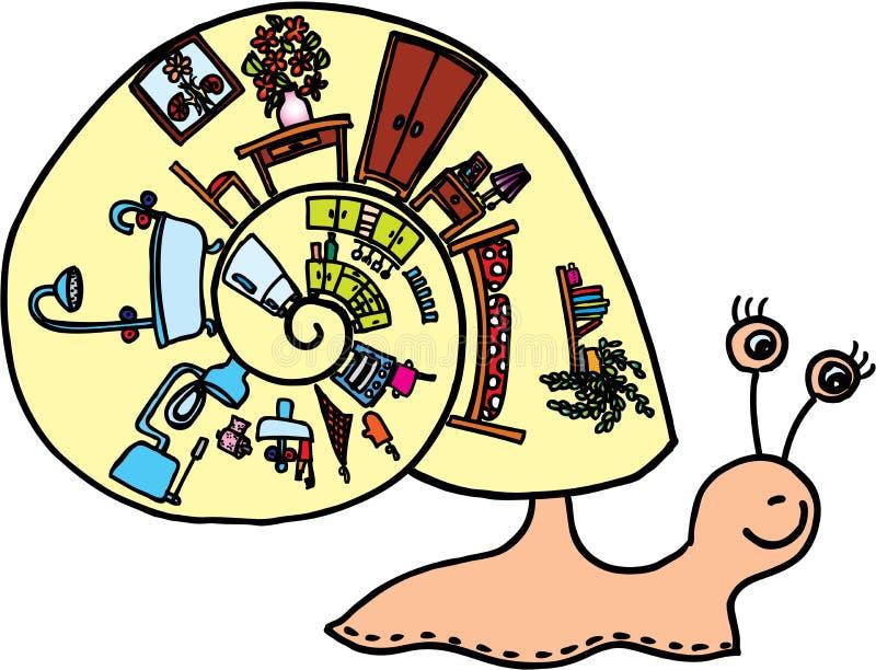 Caracol com escudo ilustração royalty free