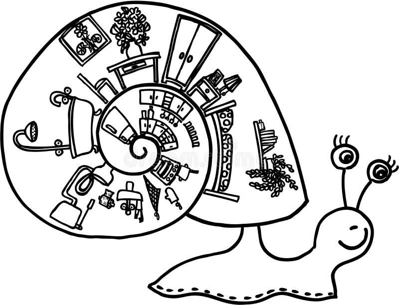 Caracol com escudo ilustração do vetor