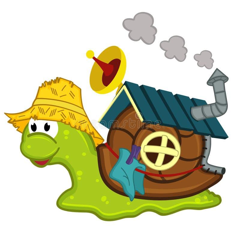 Caracol con una casa stock de ilustración