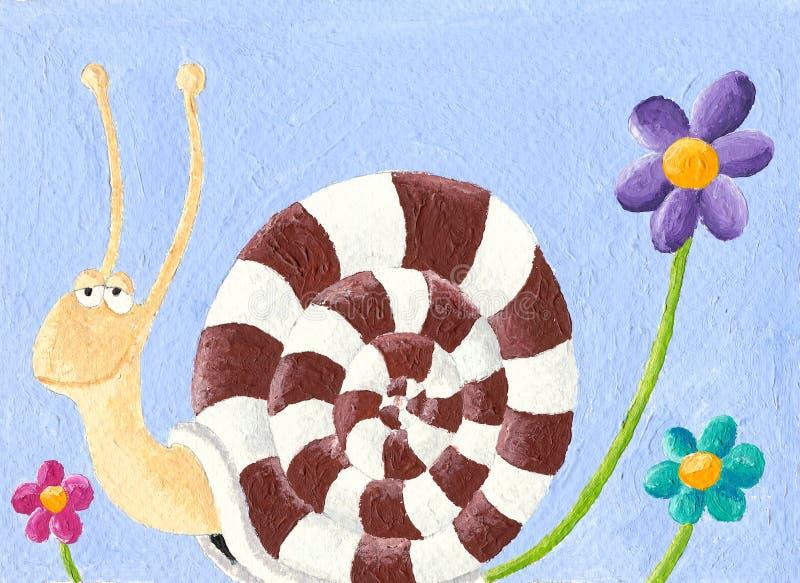 Caracol e flores ilustração royalty free