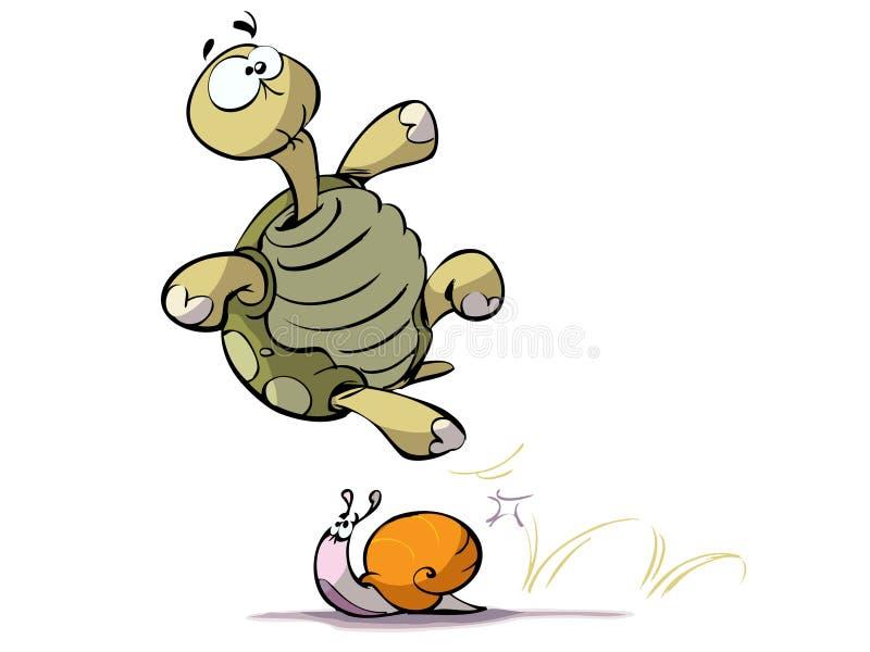 Caracol e tartaruga ilustração stock
