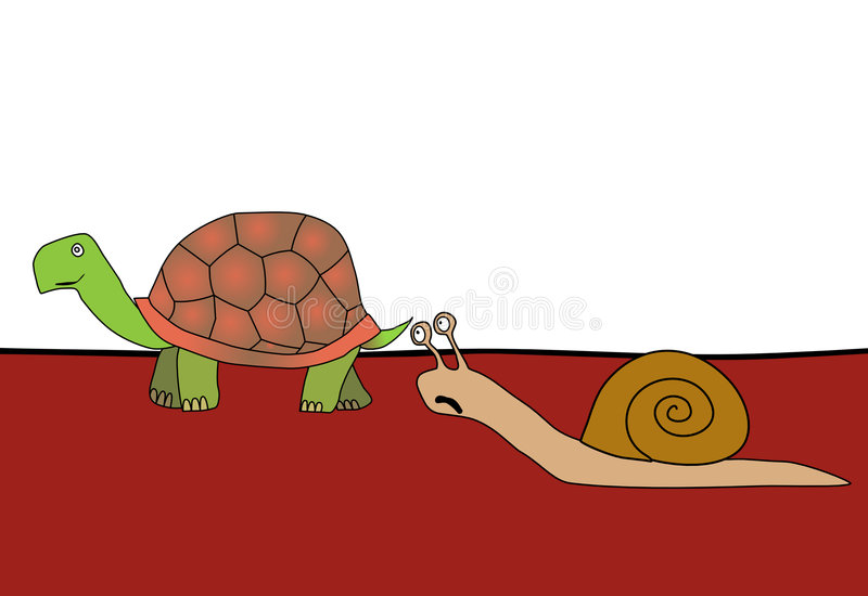 Caracol e tartaruga - raça ilustração stock