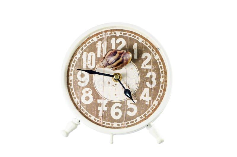 Caracol en un despertador, concepto del tiempo. Trayectoria de recortes imagen de archivo