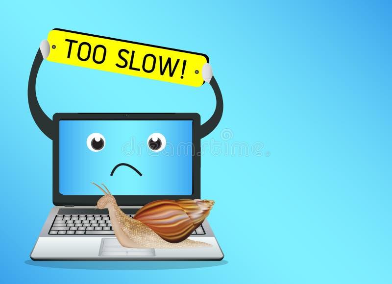 Caracol en un ordenador portátil lento ilustración del vector