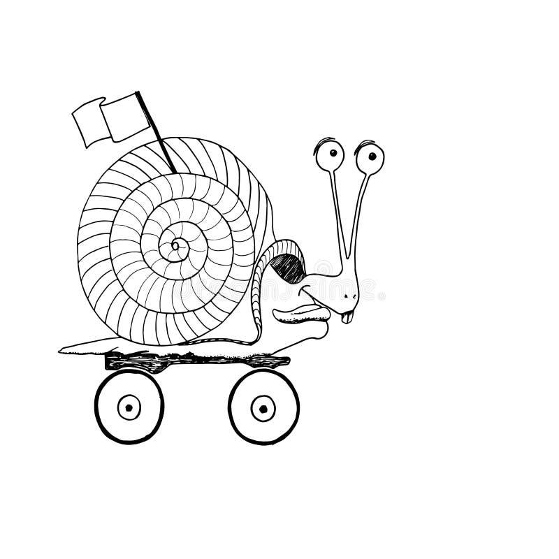 Caracol enojado en paseos rápidos de un monopatín ilustración del vector