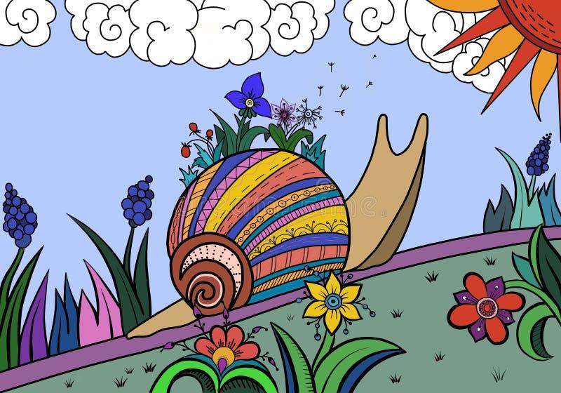 Caracol entre las flores libre illustration
