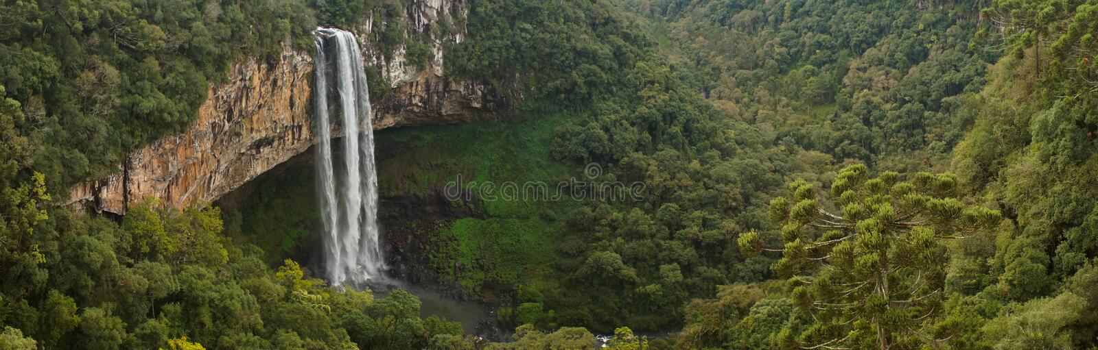 Caracol Falls Waterfall in jungle setting near Canela, Brazil. royalty free stock photos