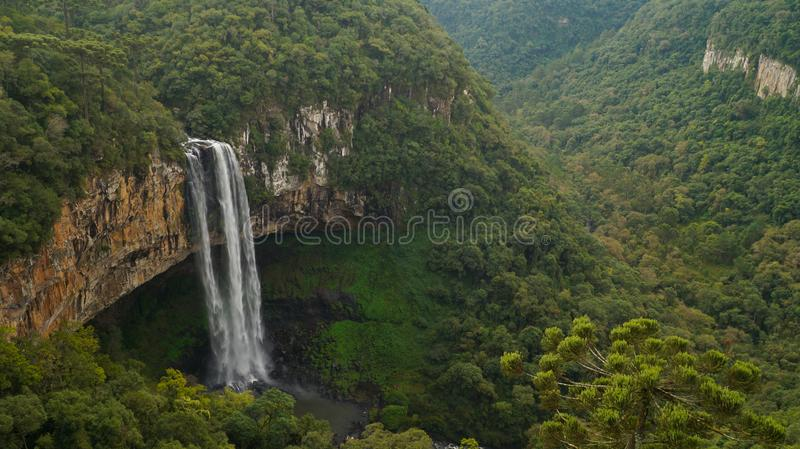 Caracol Falls Waterfall in jungle setting near Canela, Brazil. stock photography