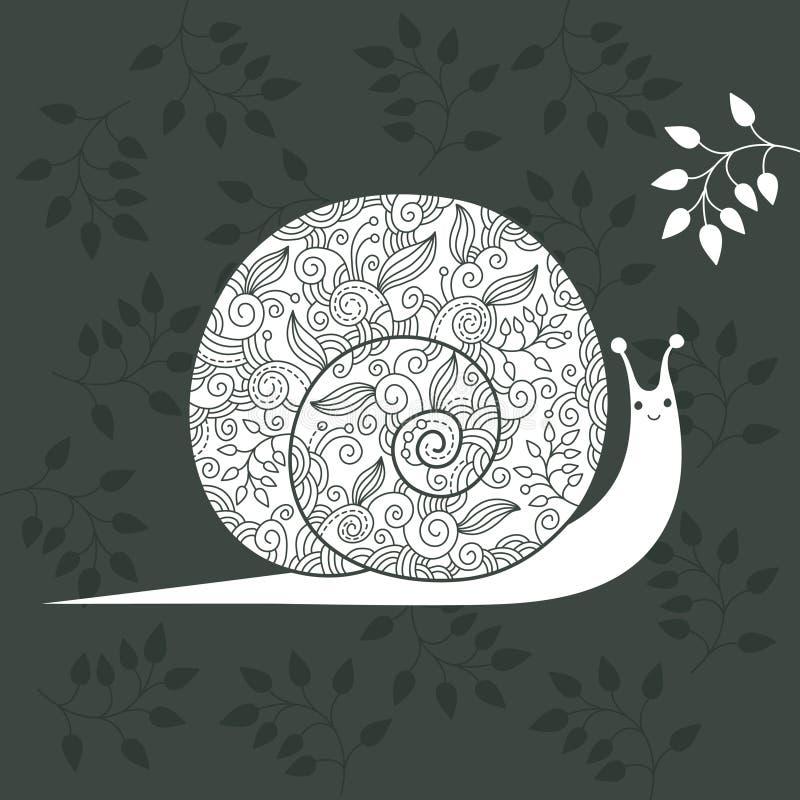 Caracol floral stock de ilustración