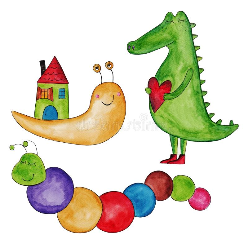 Caracol, lagarta e crocodilo. ilustração royalty free