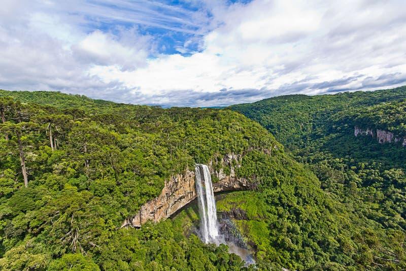 Caracol vattenfall - den Canela staden, Rio Grande gör Sul - Brasilien arkivbild