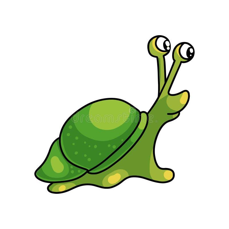 Caracol verde inteiro pequeno bonito com escudo pequeno ilustração royalty free