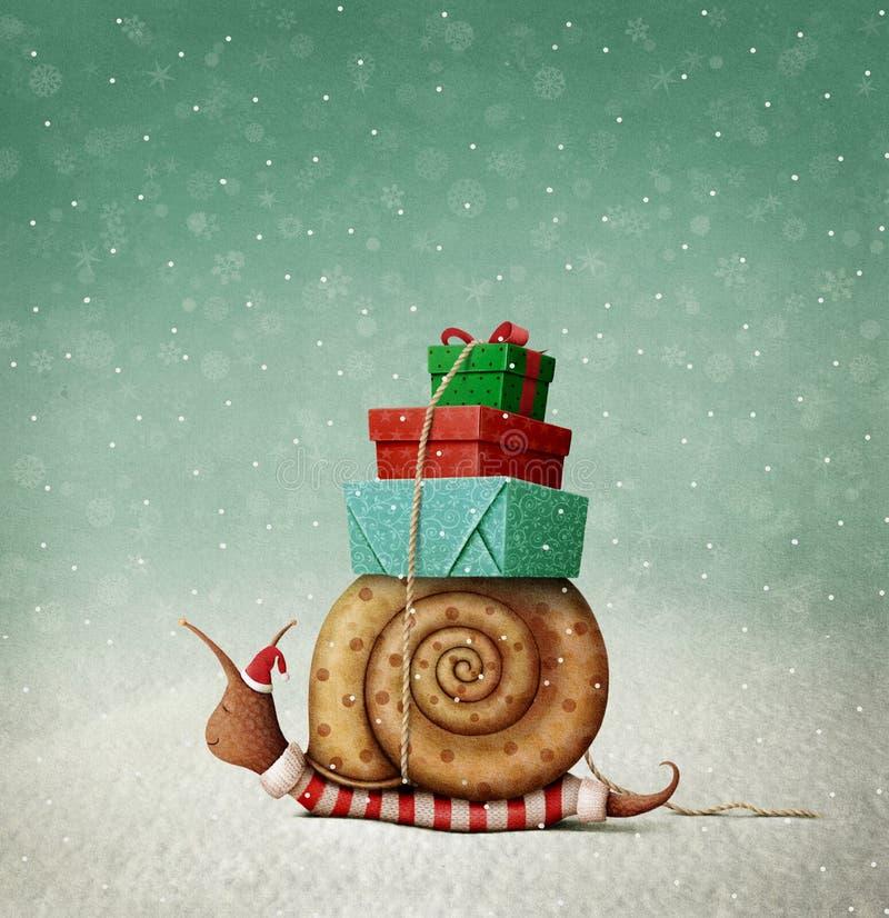 Caracol y regalos de la Navidad stock de ilustración