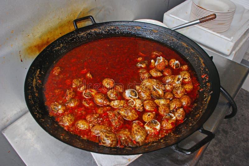 Caracoles cocinados en aceite y chile imagen de archivo