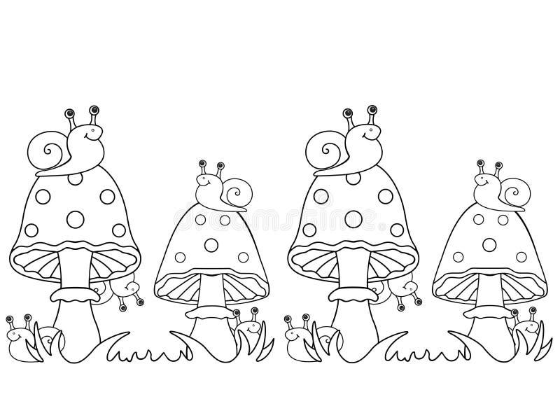 Caracoles y agáricos de mosca Los caracoles se sientan en setas y ocultan detrás de ellas stock de ilustración