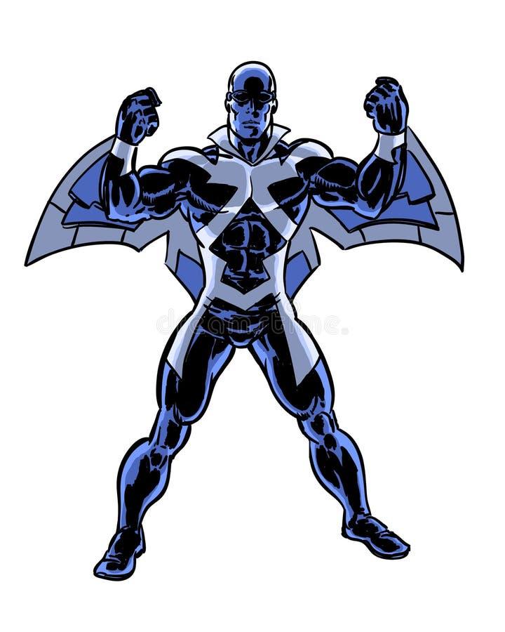 Caractère à ailes de héros illustré par bande dessinée illustration stock