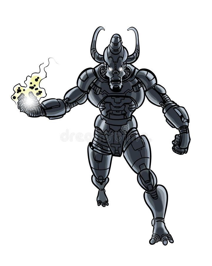 Caractère à cornes cosmique de créature de cyborg illustré par bande dessinée illustration libre de droits
