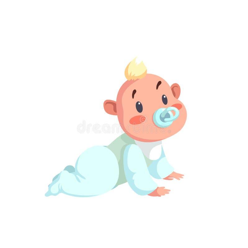 Caractère à la mode de bébé de conception de bande dessinée Illustration de vecteur dans le style simple de gradient Enfant avec  illustration stock