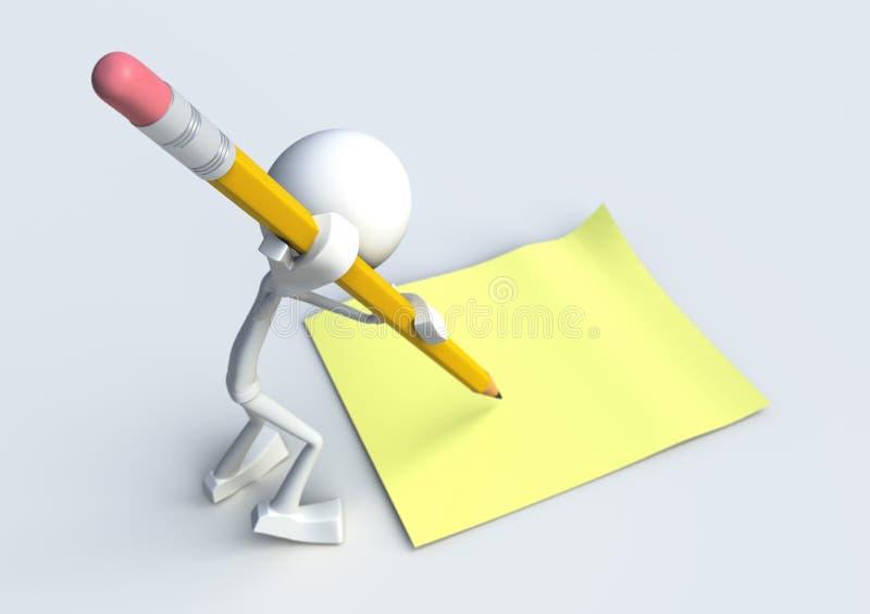 caractère 3D écrivant une note illustration libre de droits