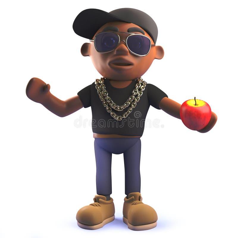 Caractère africain de frappeur d'houblon de hanche de bande dessinée dans 3d tenant une pomme illustration de vecteur