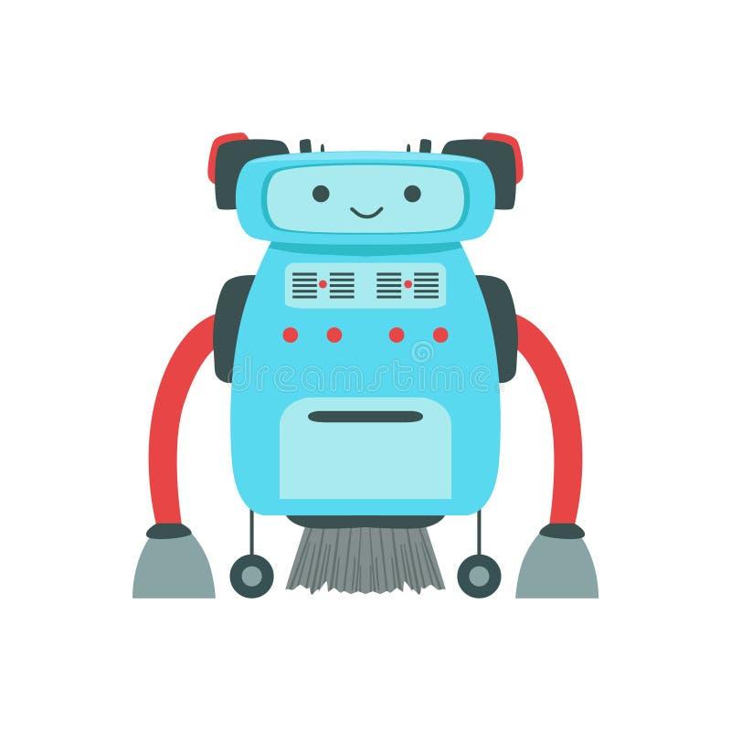 Caractère amical bleu de robot d'Android avec l'illustration de bande dessinée de vecteur de cheveux illustration stock