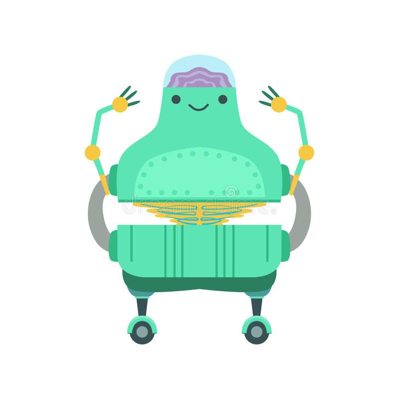 Caractère amical de robot d'Android avec Brain Vector Cartoon Illustration transparent illustration libre de droits