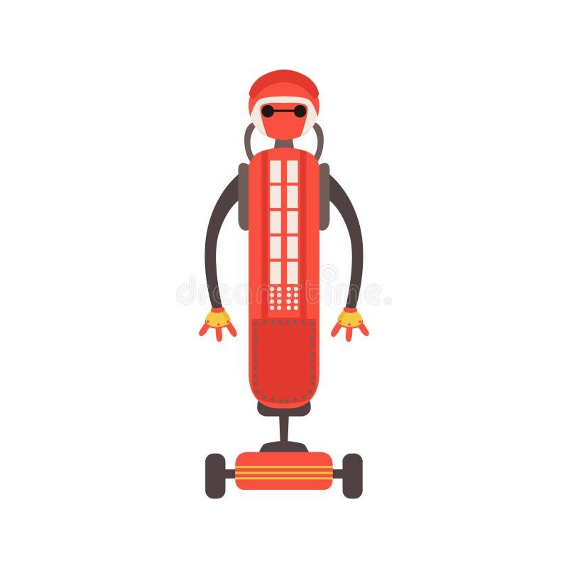 Caractère amical rouge de robot d'Android sur l'illustration à roues de bande dessinée de vecteur de plate-forme illustration stock