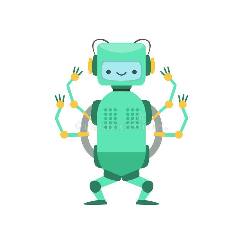 Caractère amical vert de robot d'Android avec l'illustration de bande dessinée de vecteur de quatre bras illustration de vecteur