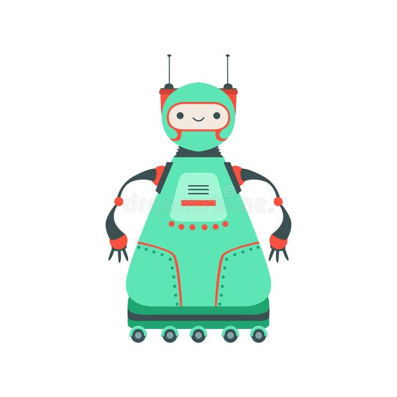 Caractère amical vert de robot d'Android sur six illustrations de bande dessinée de vecteur de roues illustration stock