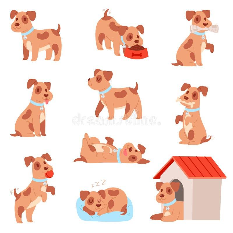 Caractère animal de petit chiot de chienchien de vecteur de chien jouant ou ensemble animalistic de chienchien d'illustration de  illustration stock