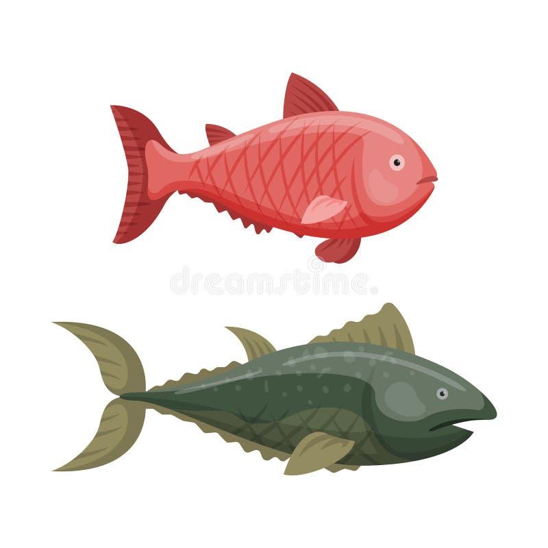 Caractère animal graphique de poissons de natation drôle mignonne de bande dessinée et eau marine d'océan de faune d'aileron aqua illustration de vecteur