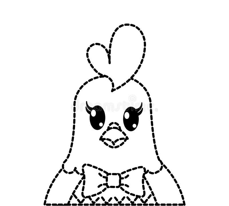 Caractère animal mignon pointillé de poule adorable de forme illustration libre de droits