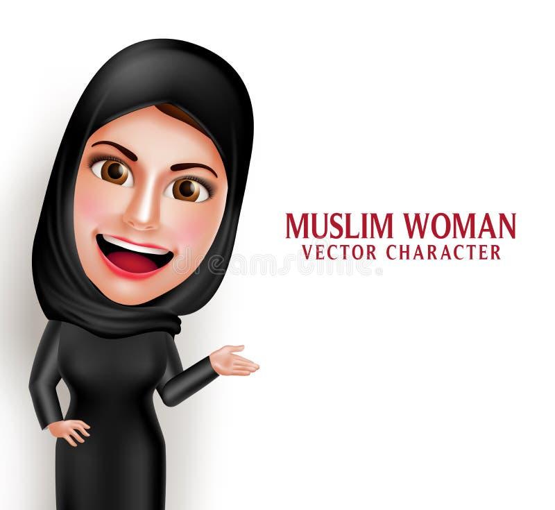 Caractère arabe musulman de vecteur de femme présentant dans l'espace blanc vide illustration de vecteur