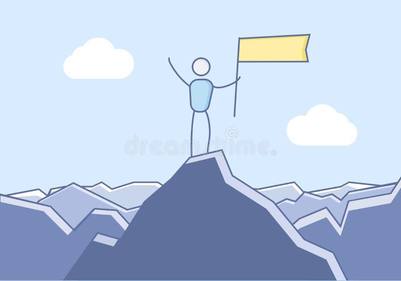 Caractère atteignant le dessus de la montagne et de la célébration Illustration de vecteur pour des concepts de motivation et de  illustration stock