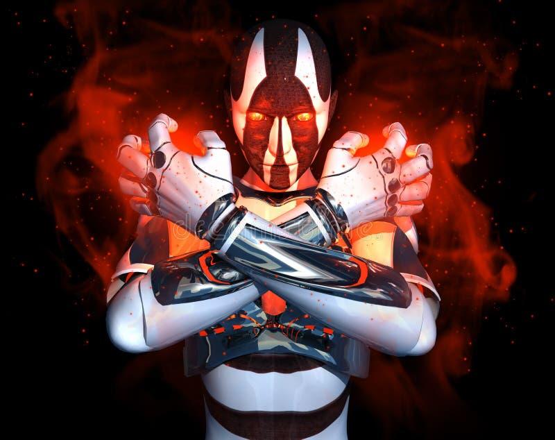 Caractère avancé de cyborg illustration libre de droits