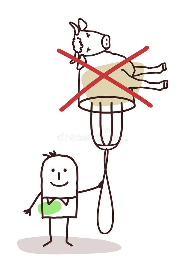 Caractère avec la fourchette - aucune viande illustration stock