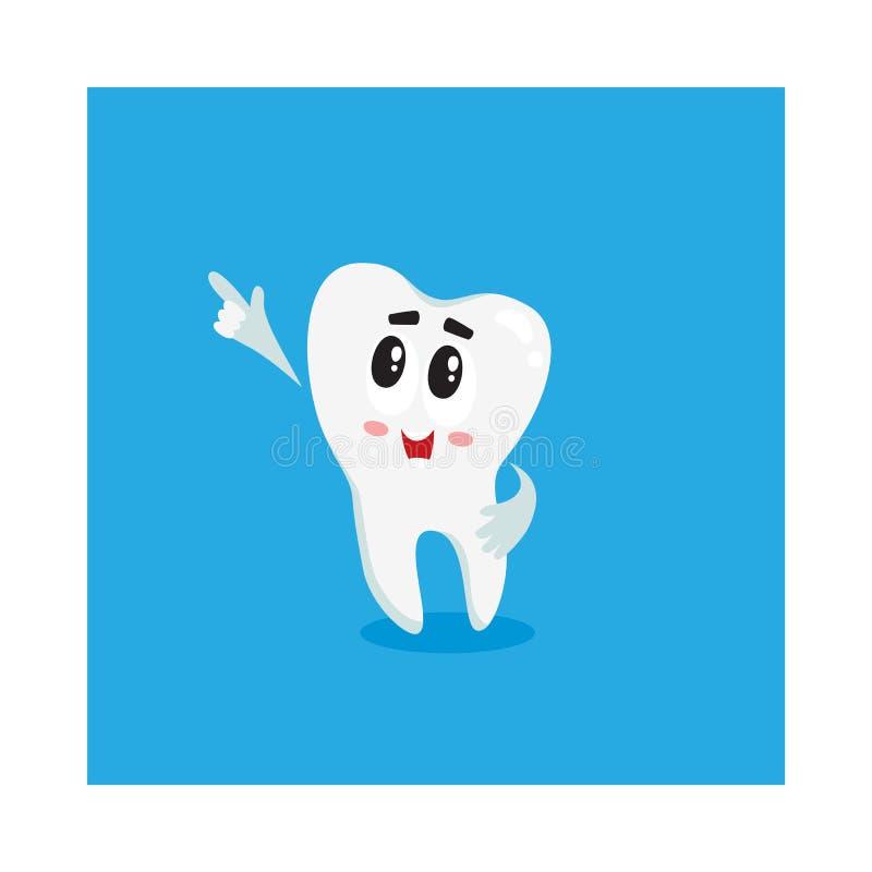 Caractère blanc brillant drôle de dent indiquant quelque chose avec le doigt illustration libre de droits