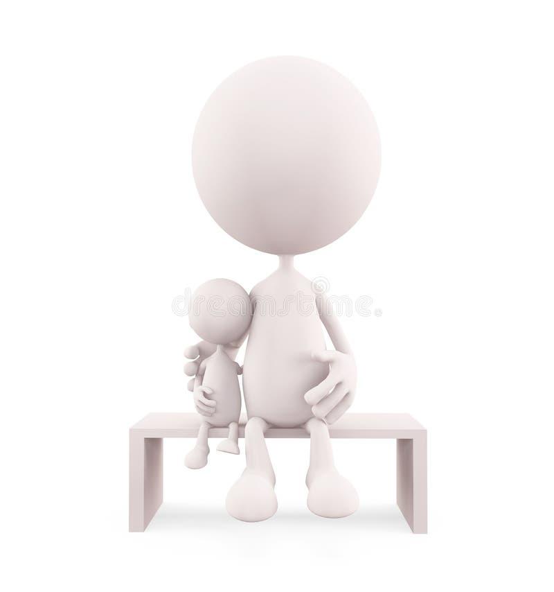 Caractère blanc situant son bébé illustration de vecteur
