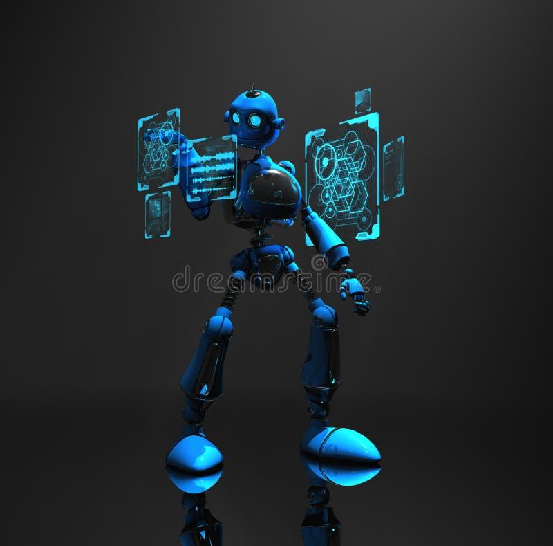 Caractère bleu de robot illustration de vecteur