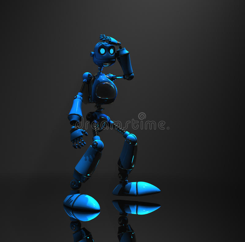 Caractère bleu de robot illustration libre de droits