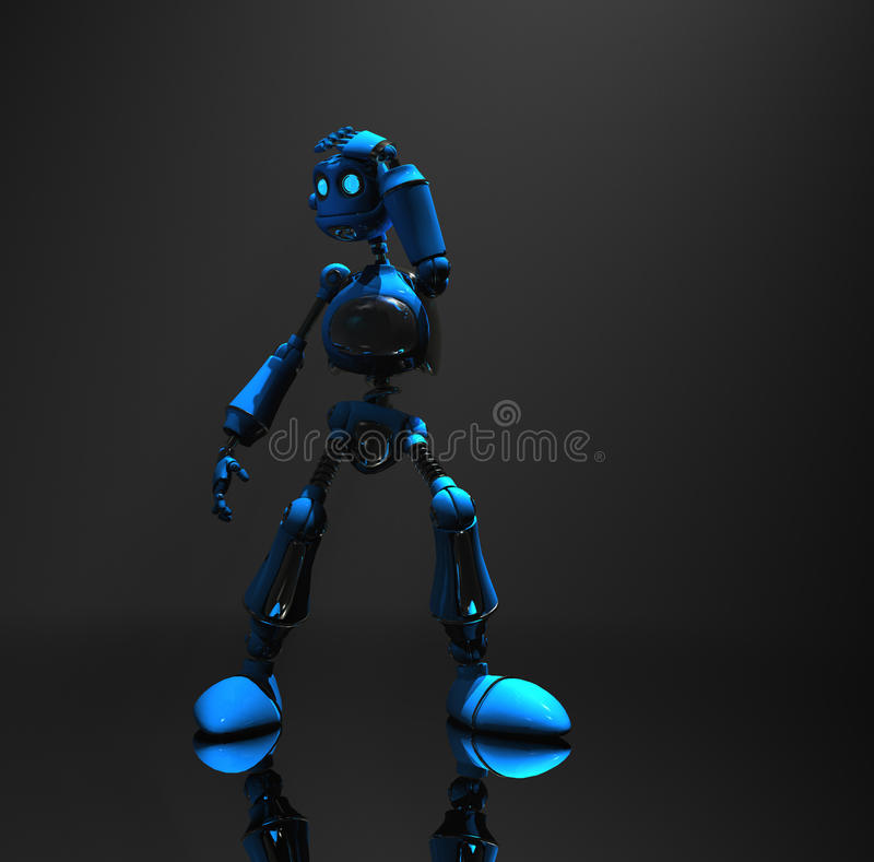 Caractère bleu de robot illustration stock