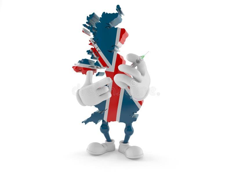 Caractère BRITANNIQUE tenant la seringue illustration libre de droits