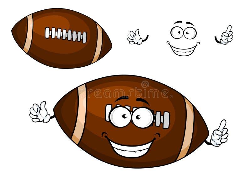 Caractère brun de mascotte de boule de rugby de bande dessinée illustration stock